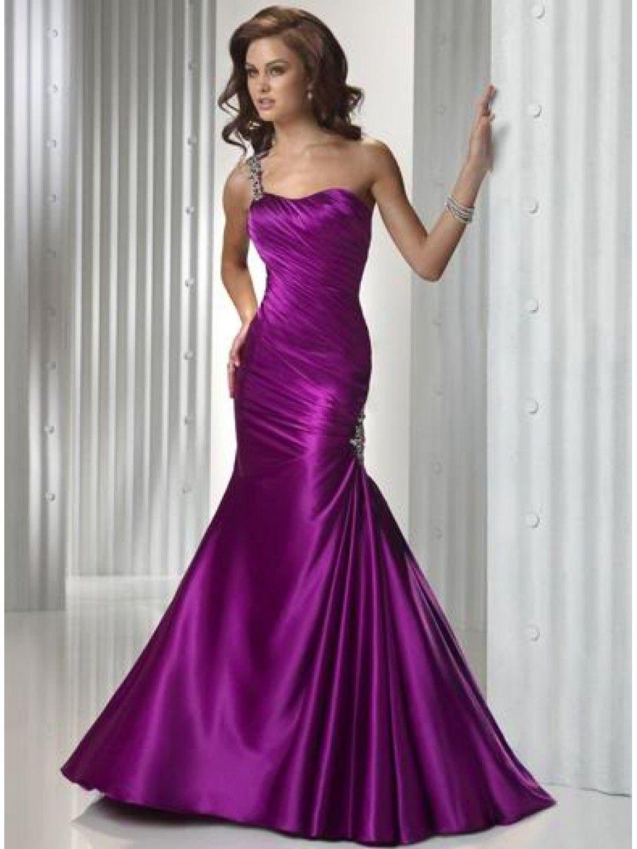 Elegant Mermaid One Shoulder Floor Length / Long Prom / Evening ...