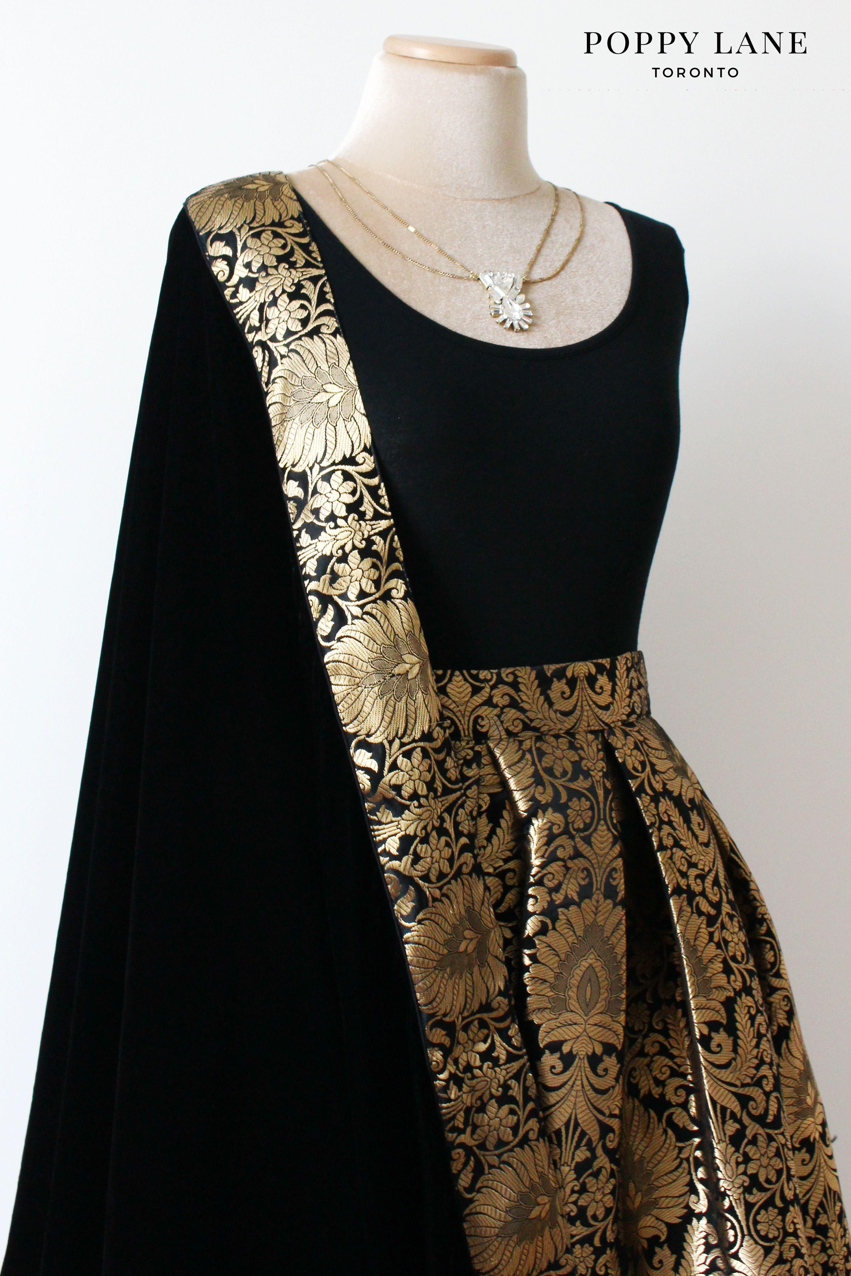 d8faace677 Poppy lane Toronto Simple Black Brocade Skirts with matching velvet  dupattas. Shop now at poppylane.ca