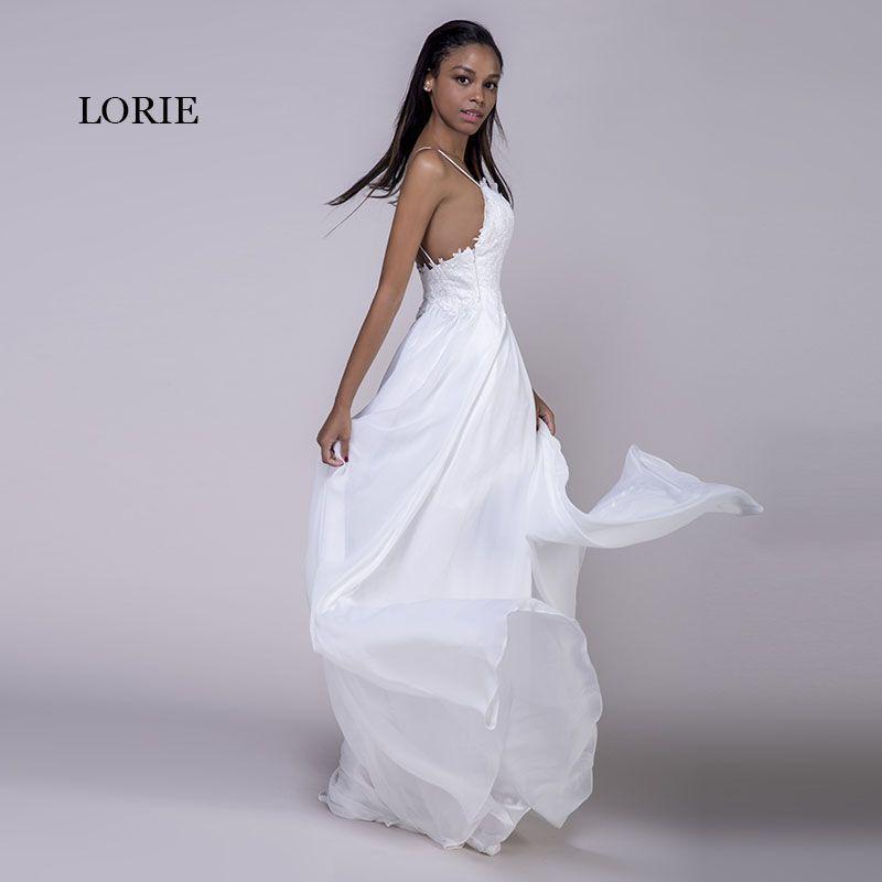 7bd00de0da LORIE Spaghetti Strap Cheap Wedding Dresses Princess Backless Chiffon Lace  Sweep Train White Bride Dress Beach Wedding Gown 2018 * View this trendy  piece in ...