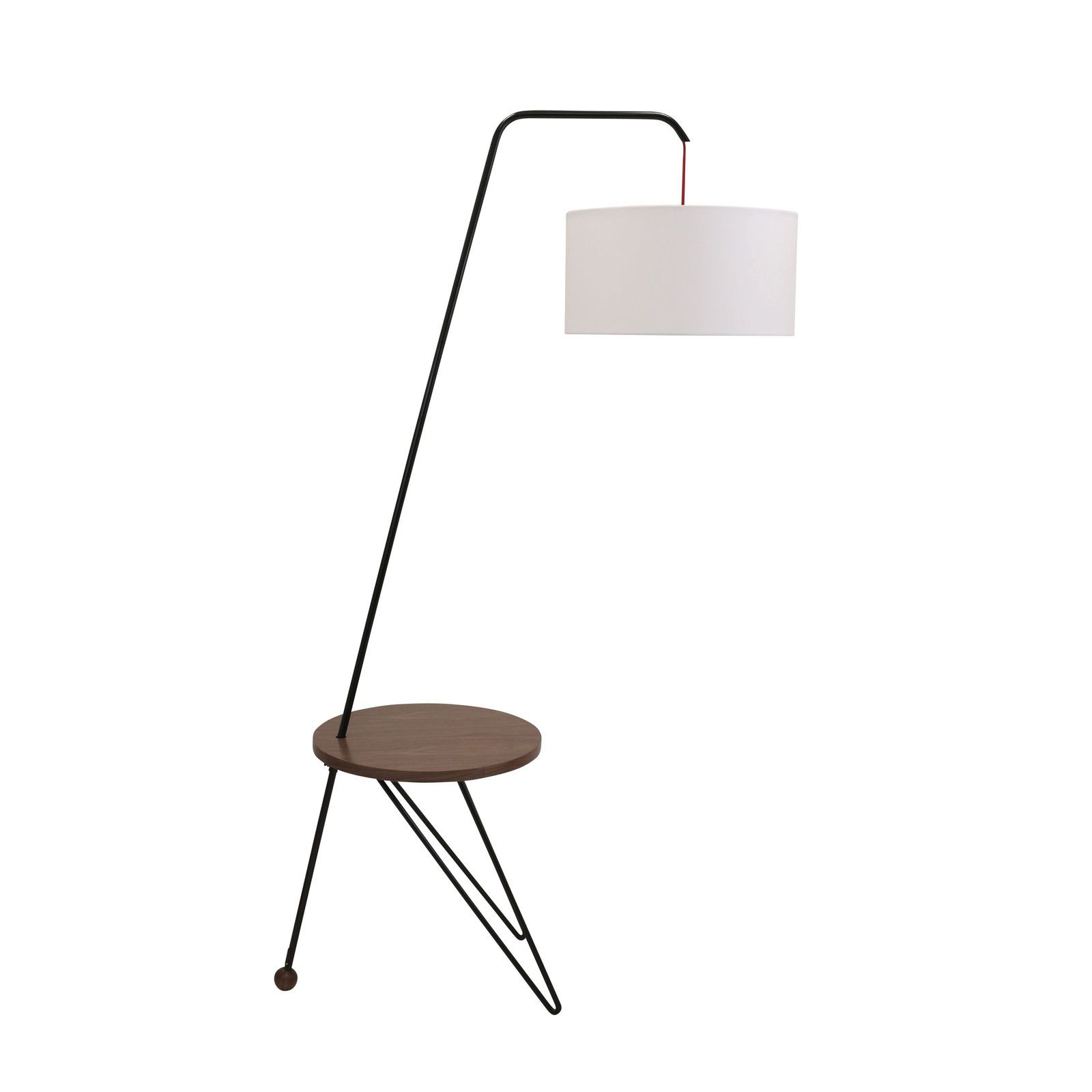 Stork Mid-Century Modern Floor Lamp with Walnut Wood Accent Table ...