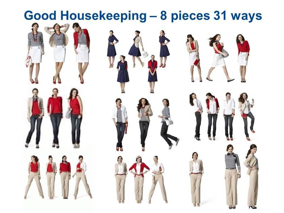 GoodHousekeeping - 8 pieces 31 Ways Red Twinset (2 pcs), Striped Tee, White Shirt, Jeans, Khaki Pant Suit, Navy Dress, White Skirt
