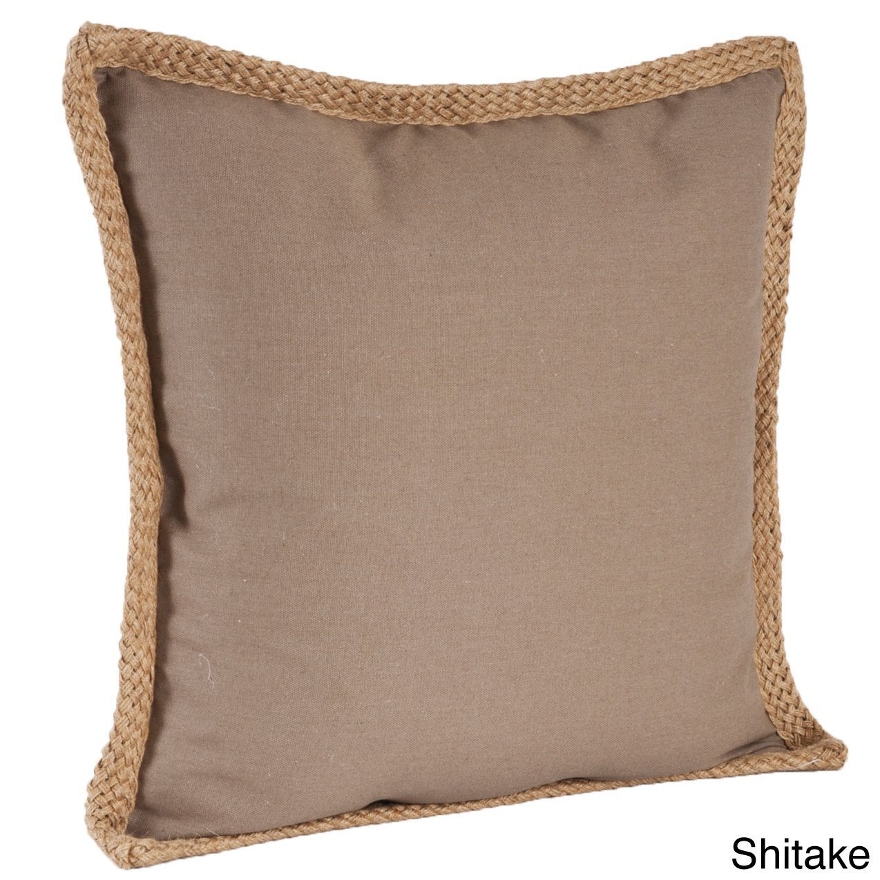 Saro Jute Braided Down Filled Throw Pillow (Shitake), Blue, Size 20 x 20 (Cotton, Solid Color)