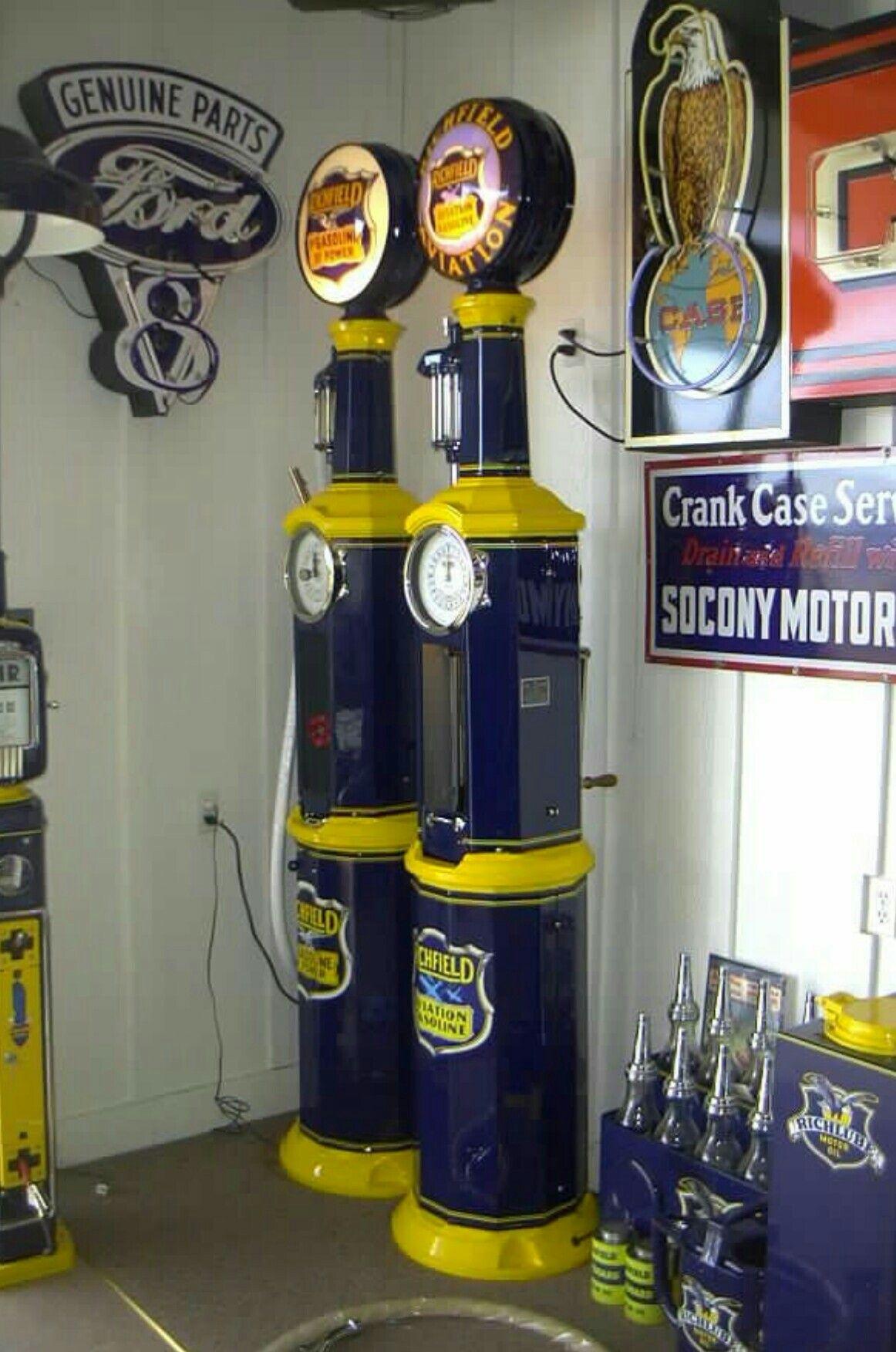 Restored Original Clock Faced Gas Pumps - Richfield   Gas