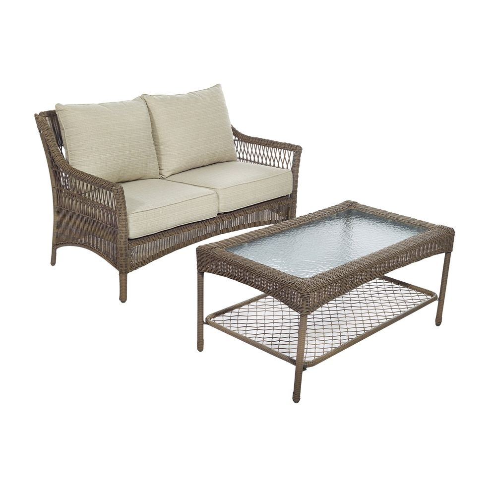 500 Allen Roth Claremont Loveseat And Coffee Table Conversation Set Lowe S Canada Coffee Table White Furniture Living Room Furniture