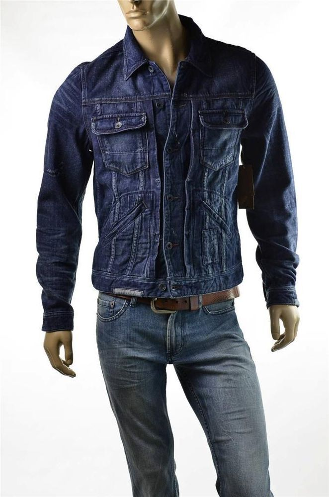 Guess Jean Jacket Mens Trucker Deckhouse Wash Denim Coat