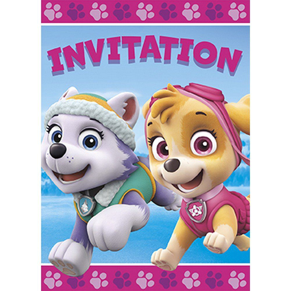 Pink Paw Patrol Invitation (8) - Paw patrol invitations, Paw patrol birthday theme, Paw patrol birthday, Pink paws, Pink party supplies, Paw patrol party - Pink Paw Patrol Invitation (8)