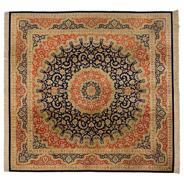 Modern Persian Tabriz Design Rug 44687 Nazmiyal Antique Rugs: 20th Century Floral Black And Orange Pure Silk Rug, 1990