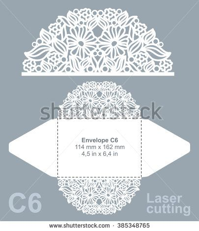 Vector die cut envelope template for laser cutting Invitation - best of luxury invitation vector