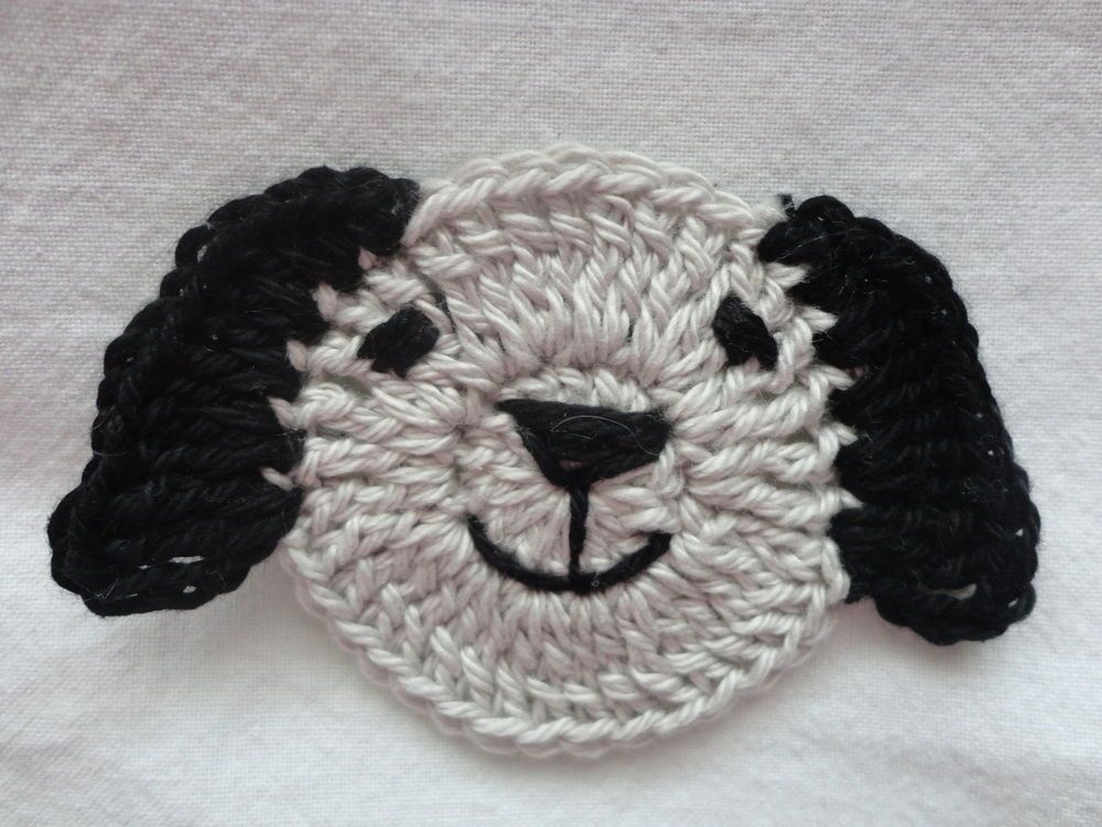 Crochet Puppy Dog Face 4 Ply Cotton Grey Amp Black