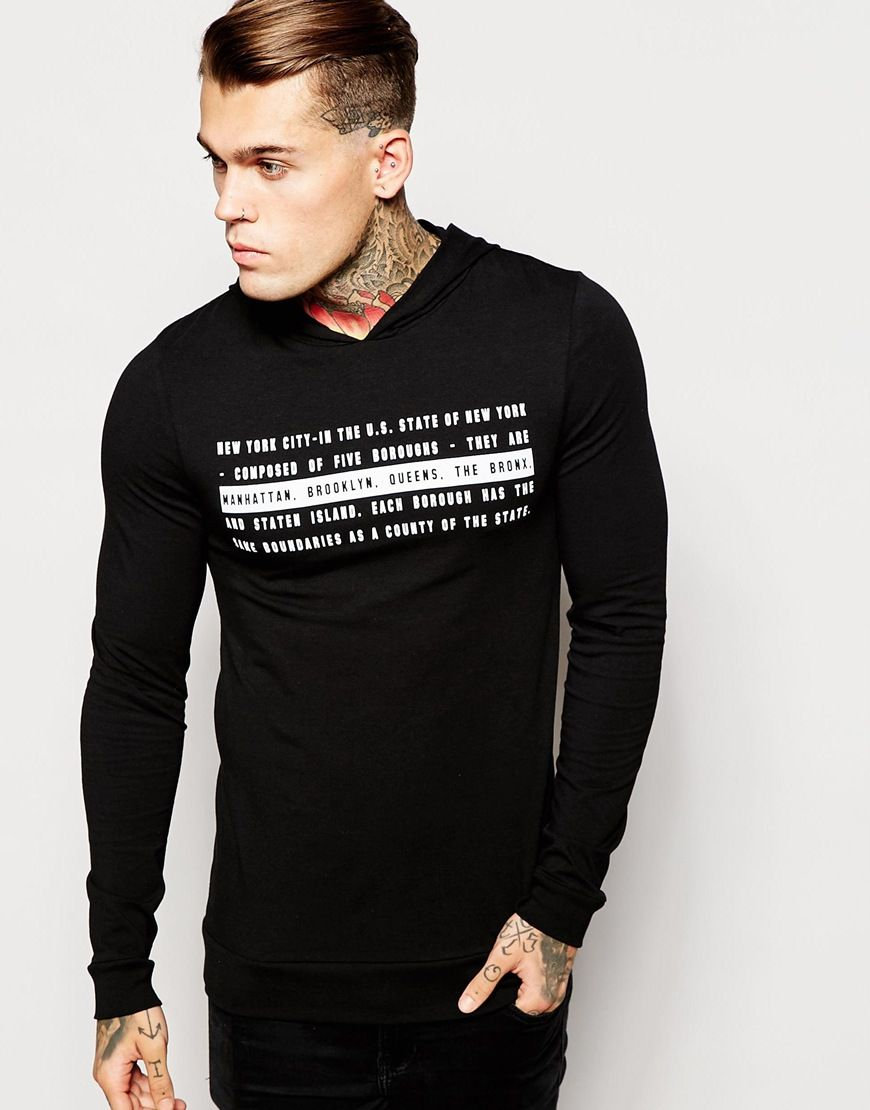 ASOS Extreme Muscle Fit Long Sleeve T-Shirt With Text Print And Hood at asos .com