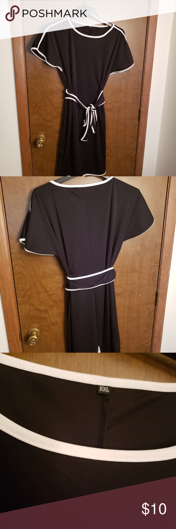 Black Dress With White Trim This Is A Close Fitting Dress With A Split In The Back It Comes To The Knees And Can Be Worn To W Black Dress White [ 1740 x 580 Pixel ]