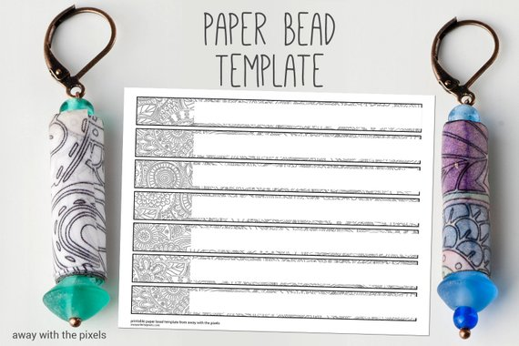 image about Printable Paper Bead Templates named Black White Electronic Paper Bead Template towards Colour, Do it yourself Paper
