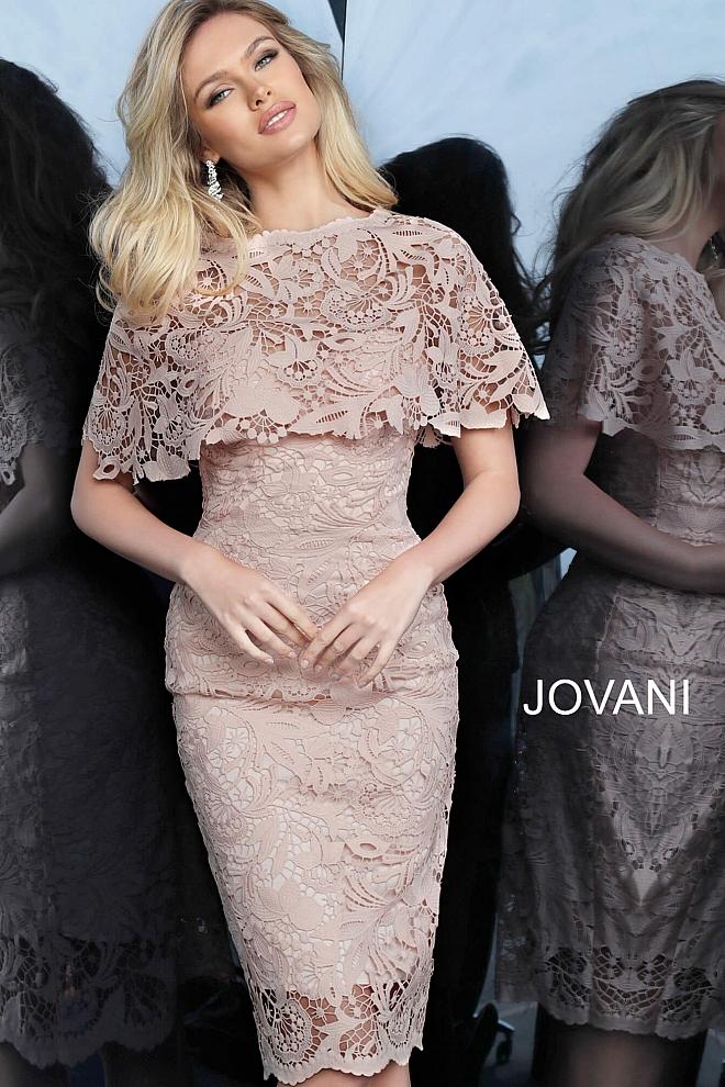 Jovani 1401 Light Pink Lace Knee Length Cocktail Dress Cocktail Dress Lace Knee Length Cocktail Dress Dress Brokat