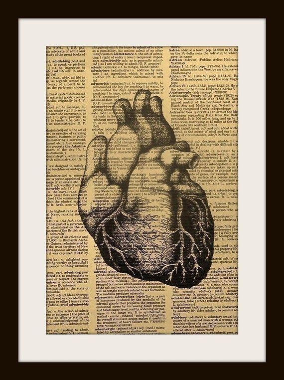 Vintage Science Anatomy Heart Art Print On Gold Gilded Vintage