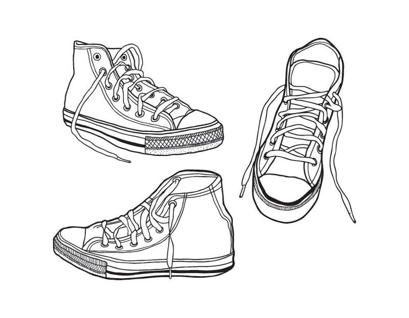 Converse All Stars Shoes Cool Coloring Pages Enjoy Coloring