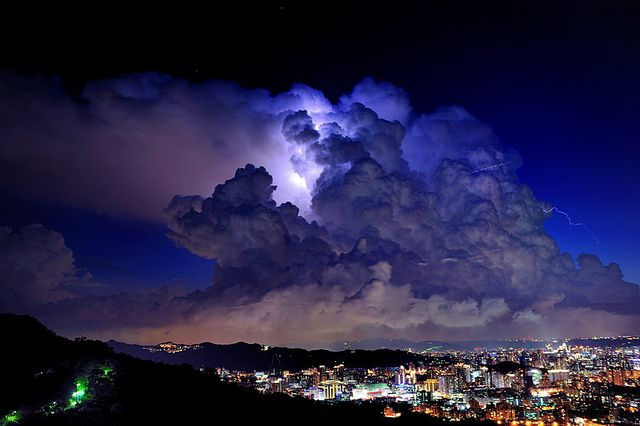 night clouds over Hsintien City, Taiwan