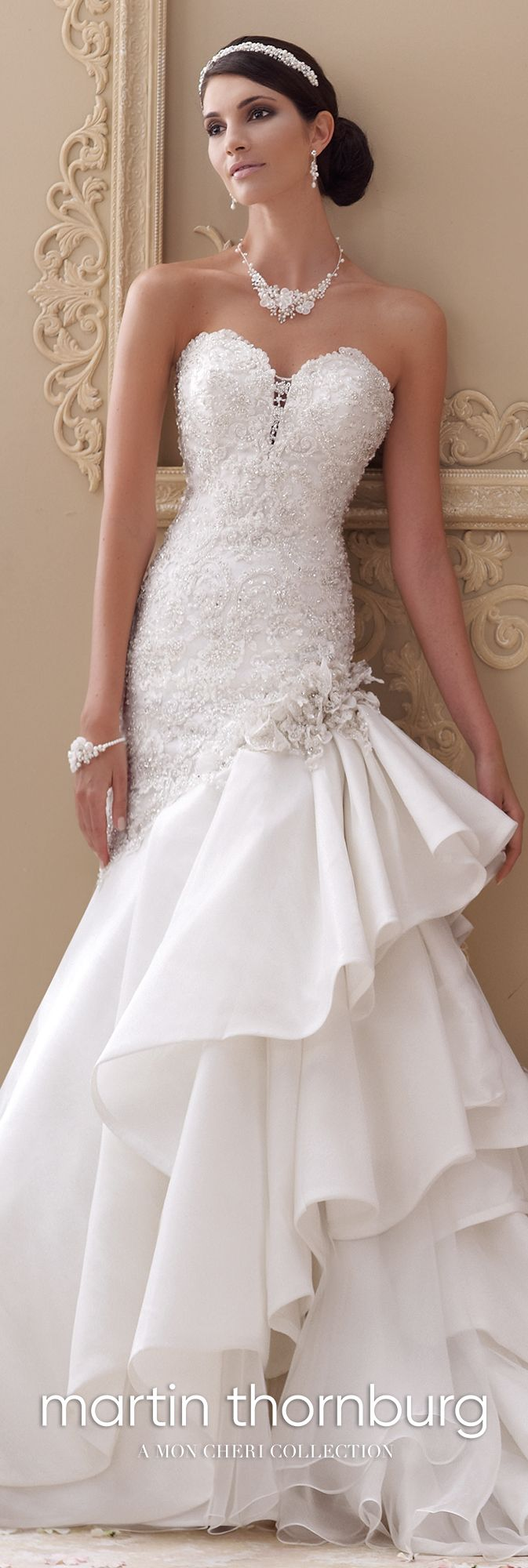 Handbeaded lace u taffeta trumpet wedding gown blue