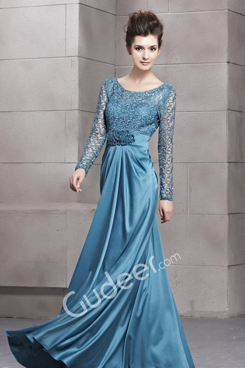 long sleeves teal long prom dress with boat neckline and keyhole ...