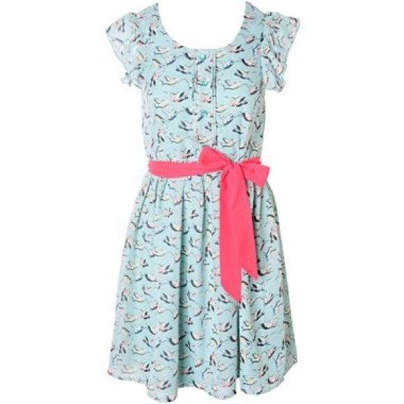 Blue Bird Dress Very cute blue-ish sea foam green-ish dress with little birds all over it! I've only worn it a couple of times. I'm open to all offers! Dresses