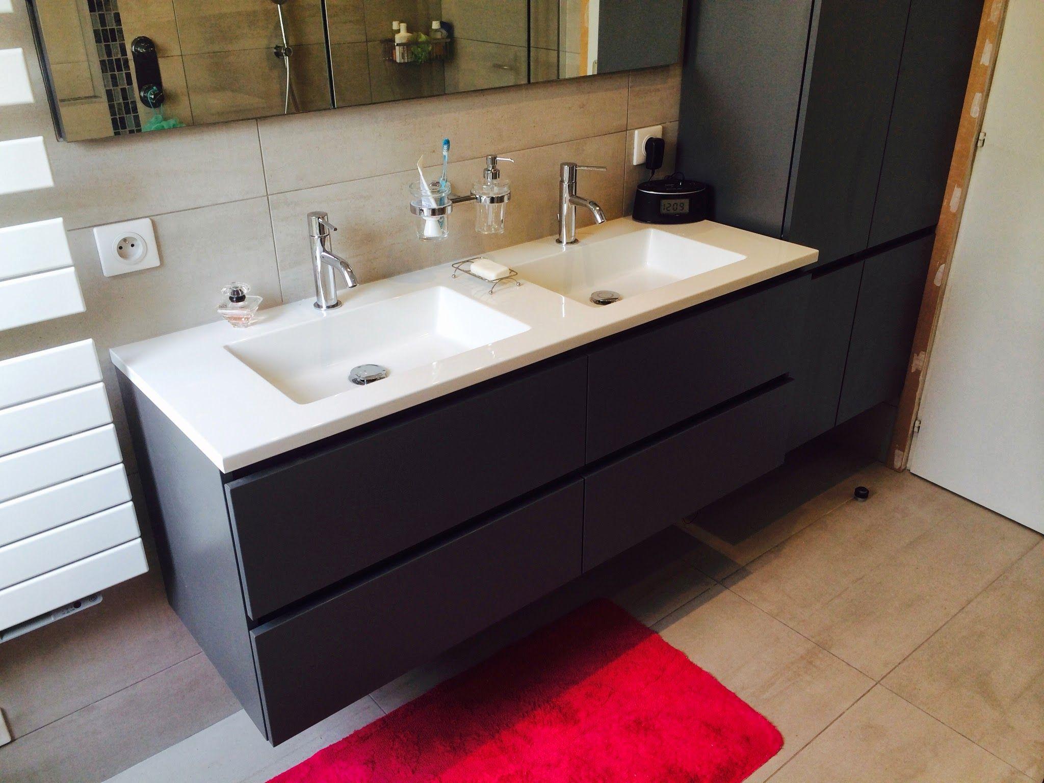 meuble triangolo vika double vasque 140x46 coloris gris fonc - Double Vasque