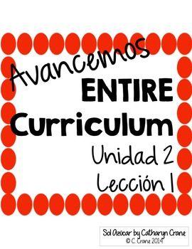 Avancemos 1 Unit 2 Lesson 1 Entire Chapter Curriculum Spanish