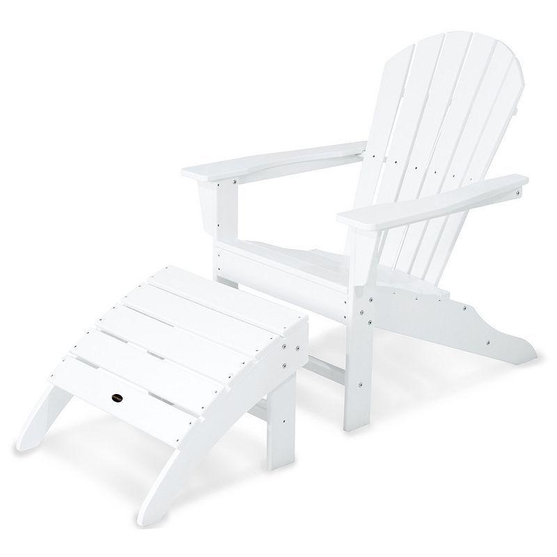 Polywood® 2-piece South Beach Adirondack Outdoor Chair & Ottoman Set, White