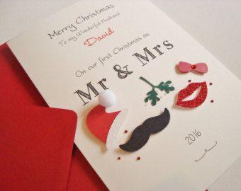 Gingerbread Handmade Christmas Card First as Mr /& Mrs//Husband /& Wife
