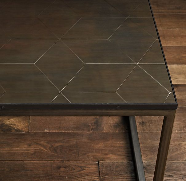 Parquet Steel Coffee Table: Metal Parquet Side Table