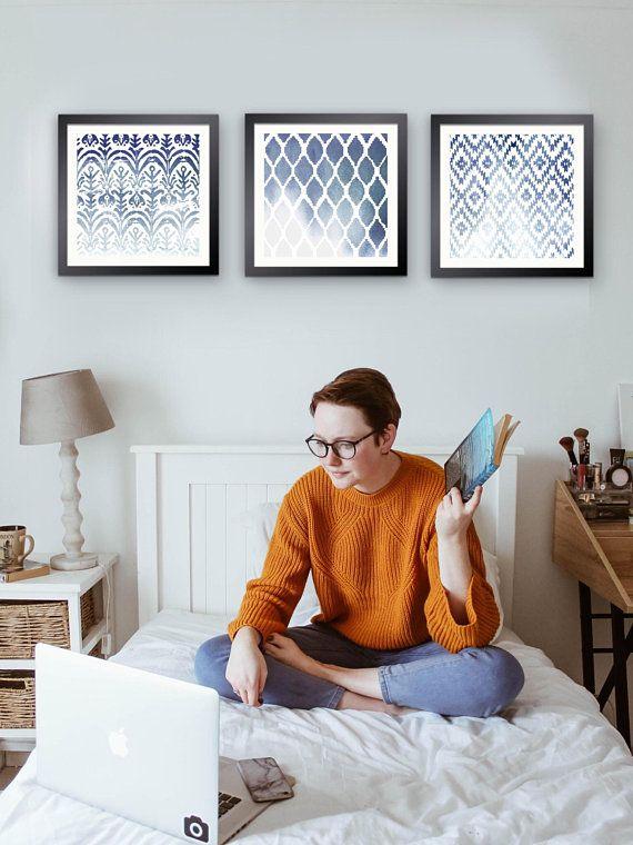 Printable Ikat Wall Art, Indigo, Set of 3; Perfectly Imperfect Ikat ...