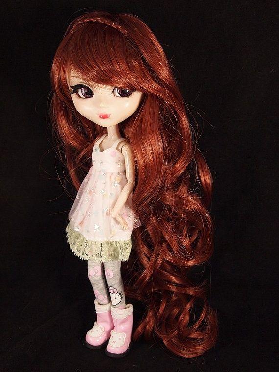 pullip dolls with bangs  long auburn hair  curly hair