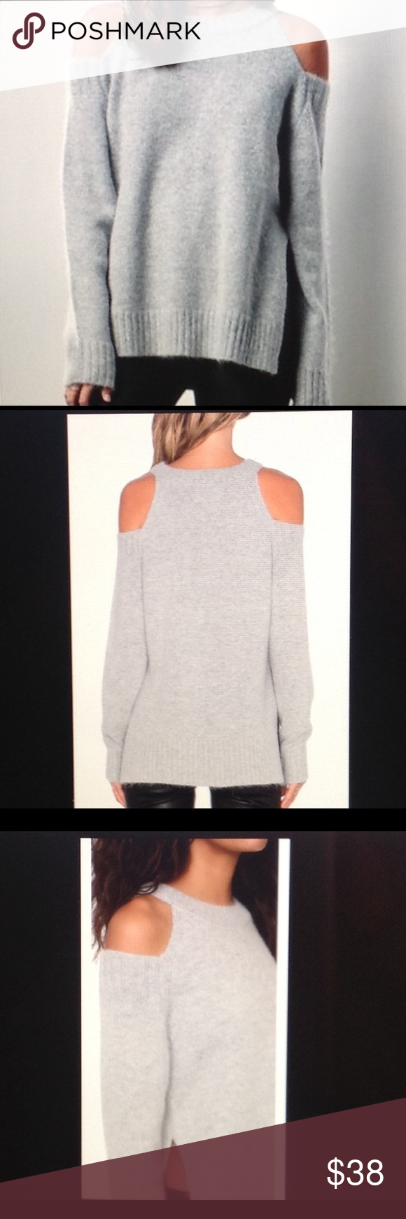58fc016c1f J.O.A. Los Angeles Cold Shoulder Sweater Beautiful Gray open shoulder  sweater with side slits. So