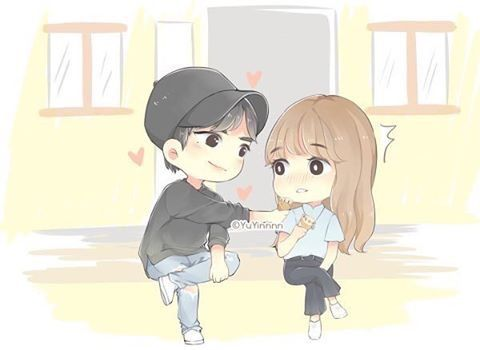 Cartoon Art Chibi Couple Han Hyo Joo Second World Lee Jong Suk Cute Korean Dramas Fanart Kdrama Caricatures Dibujo Drama Korea Fan