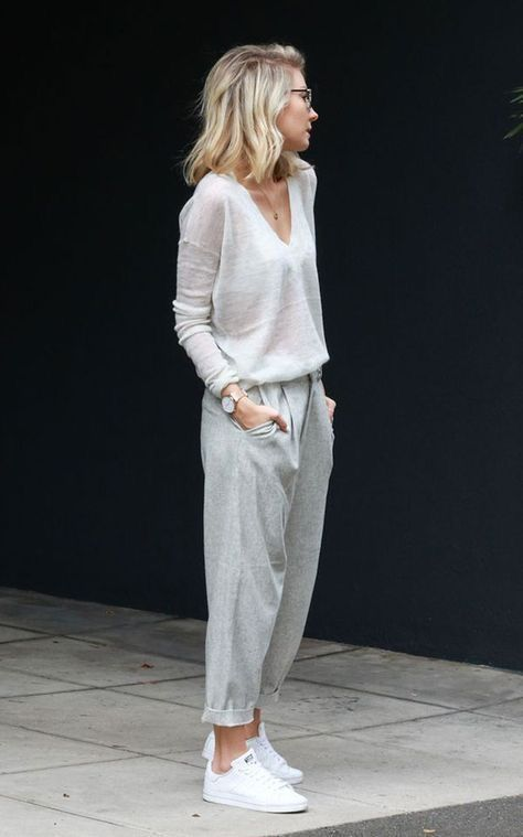 3303720c29 Linen pants and loose knit white sweater summer outfit ideas resort style