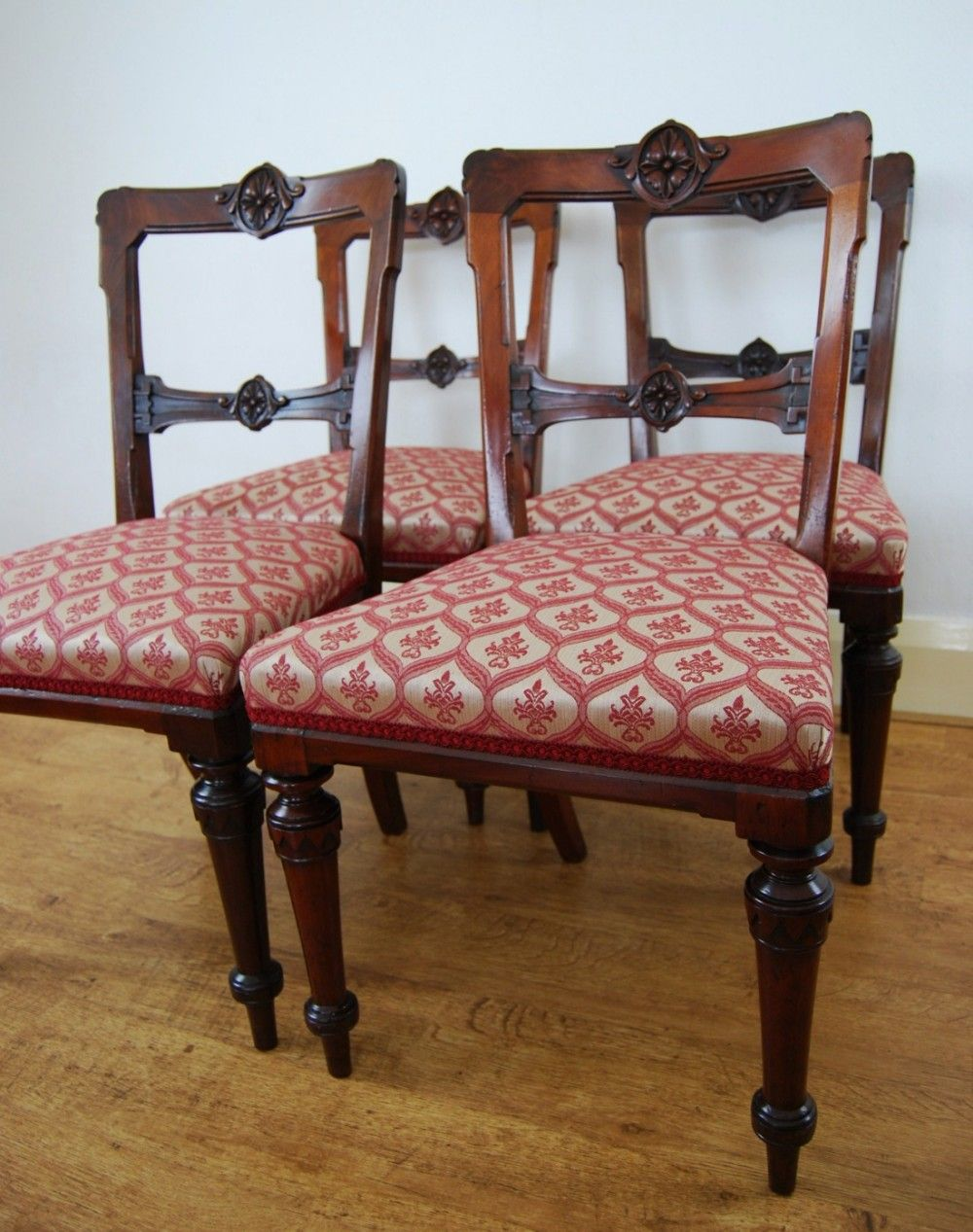 Victorian Dining Chairs Set Of Four By Johnson Son Sheffield In Warwick Fabric