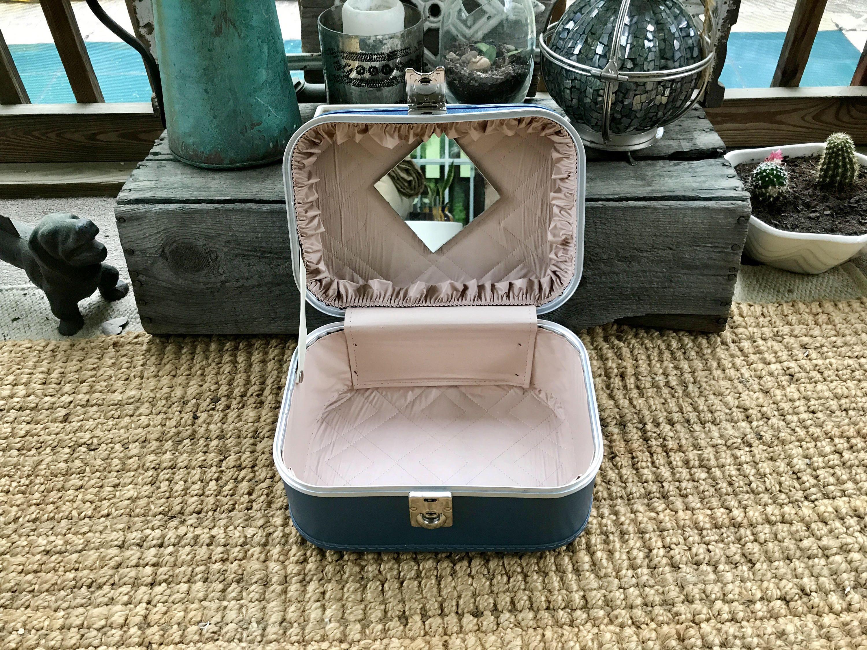 Vintage Travel Case Vacationer Bag Overnight Bag Blue