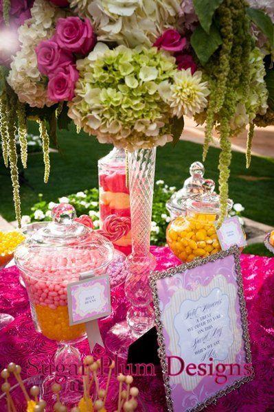 Wedding Reception Candy Buffet Pink Yellow Candy Buffet Wedding