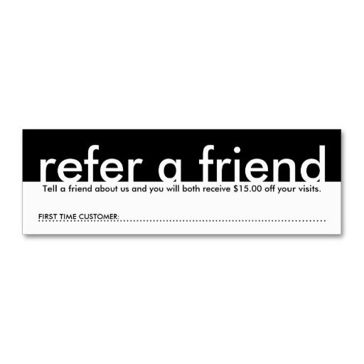 Mini Refer A Friend Business Card Templates  Custom Business