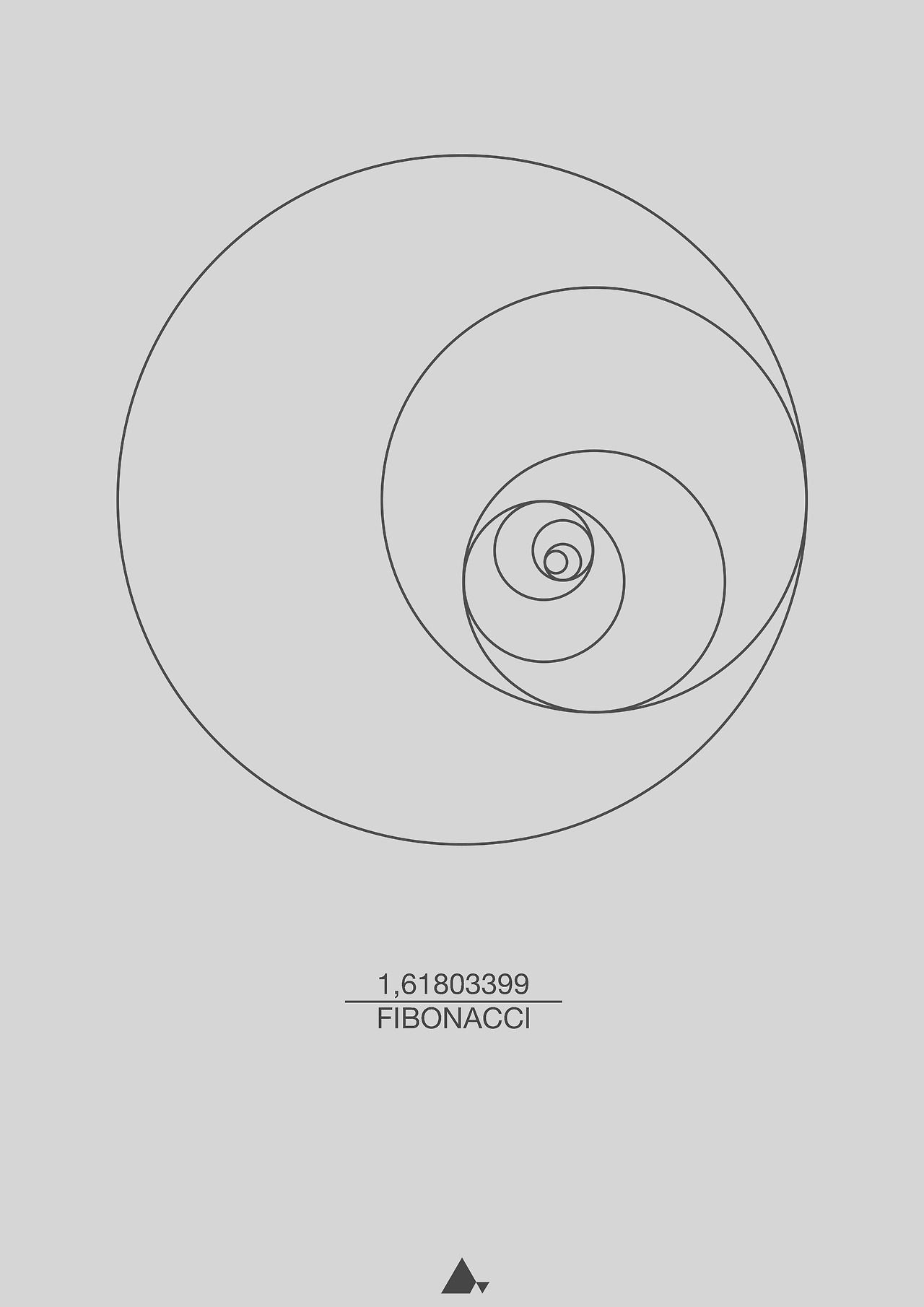 Fibonacci Sequence (Circle) Print (60x80 cm) Fibonacci, Italian ...