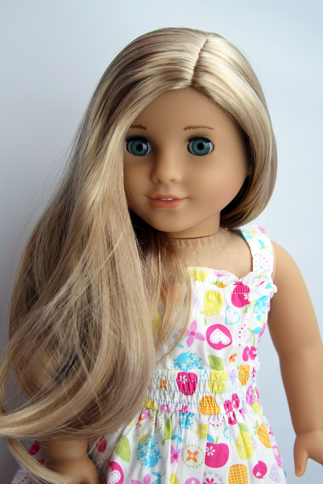 Custom american girl doll aquamarine bluegreen eyes and