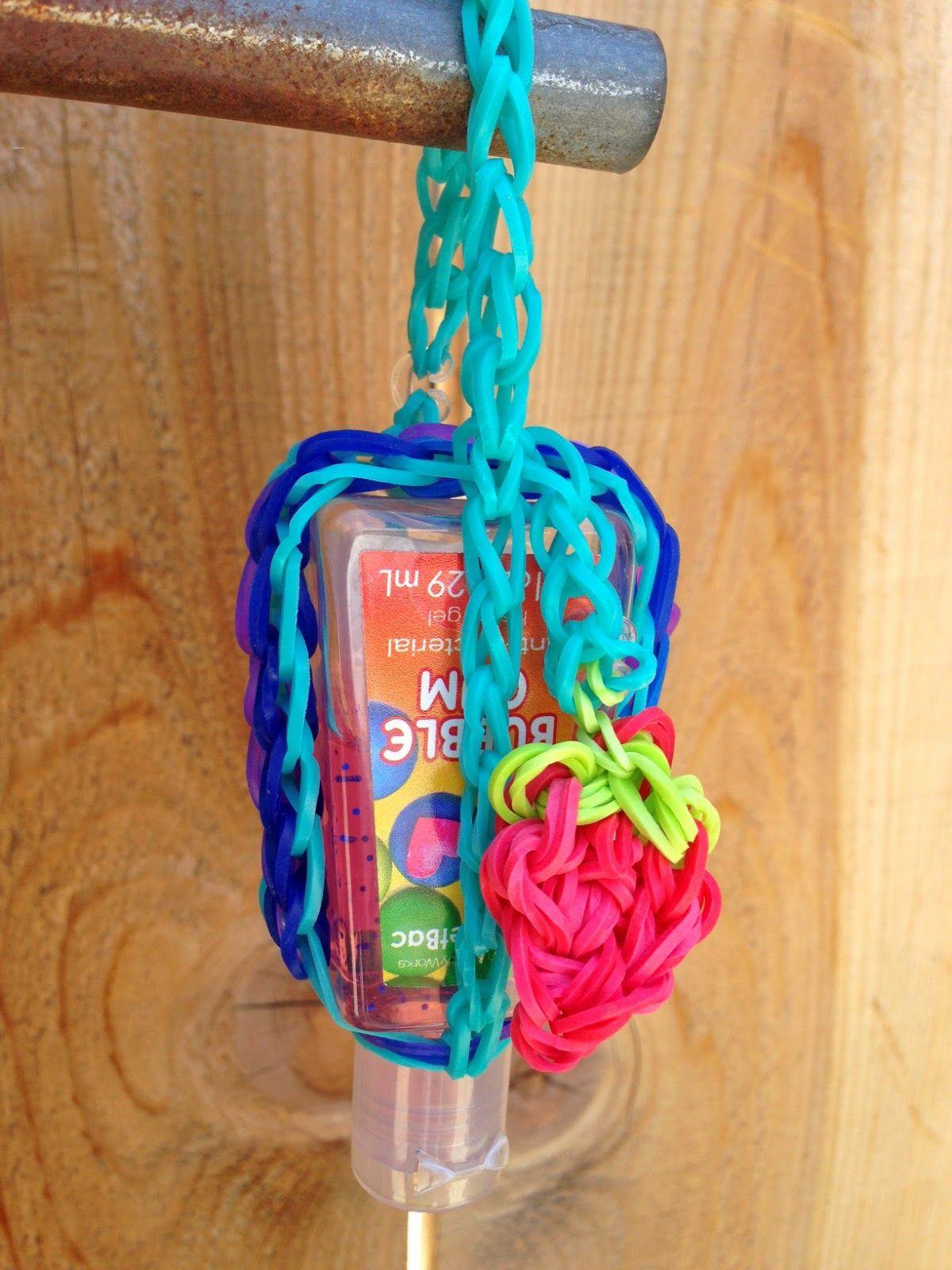 Hand Sanitizer Holder Made Of Rainbow Loom Bands Easy Kid Diy