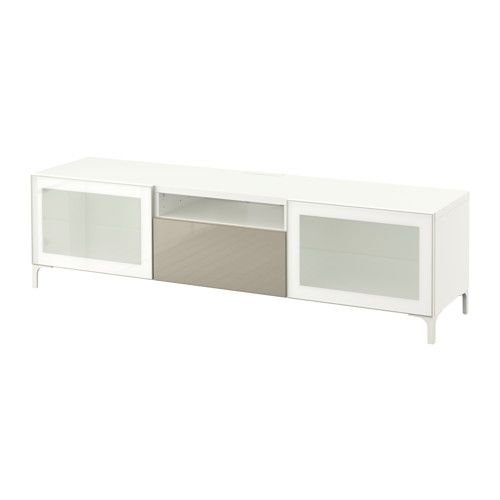 BESTÅ Móvel TV - branco/Selsviken brilhante/vidro fosco bege, calha p/gaveta, fecho suave - IKEA