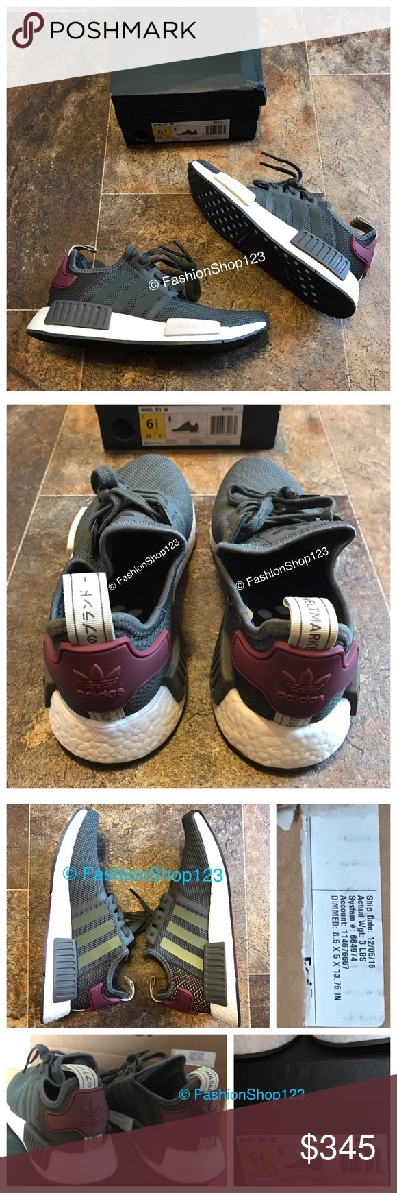 76c243d8574 ... shopping adidas nmd r1 utility grey olive maroon 6.5 womens size 6.5  limited edition d2fe1 23e90