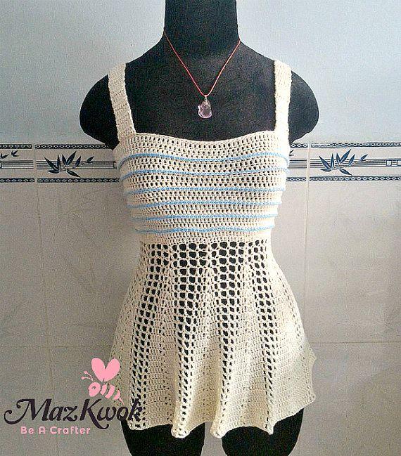 Peplum Tank Top Pdf Crochet Pattern Size 2xs 2xl Crochet Garments