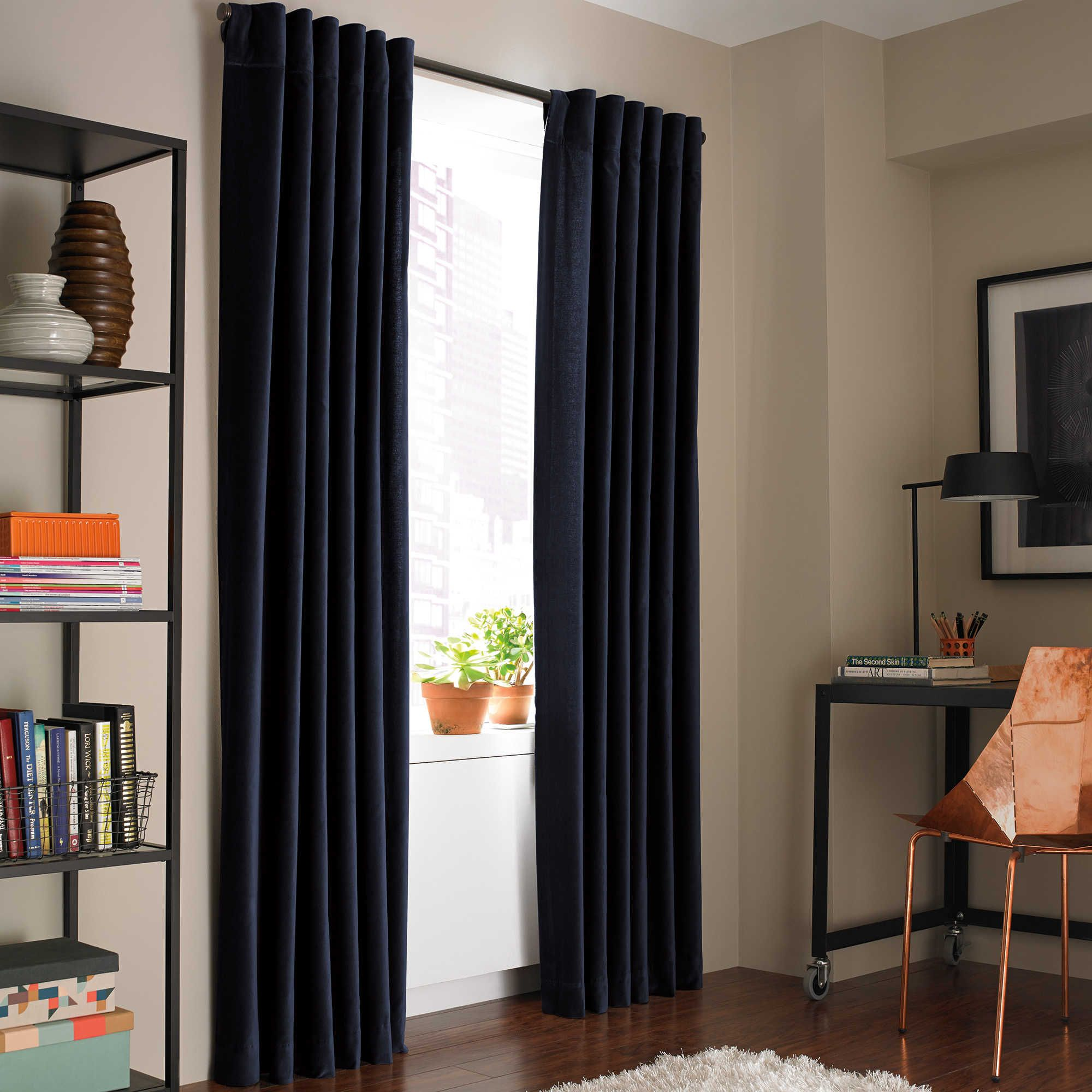 Kenneth Cole Reaction Home Soho Velvet 84 Inch Lined Window Curtain Panel  In Twilight