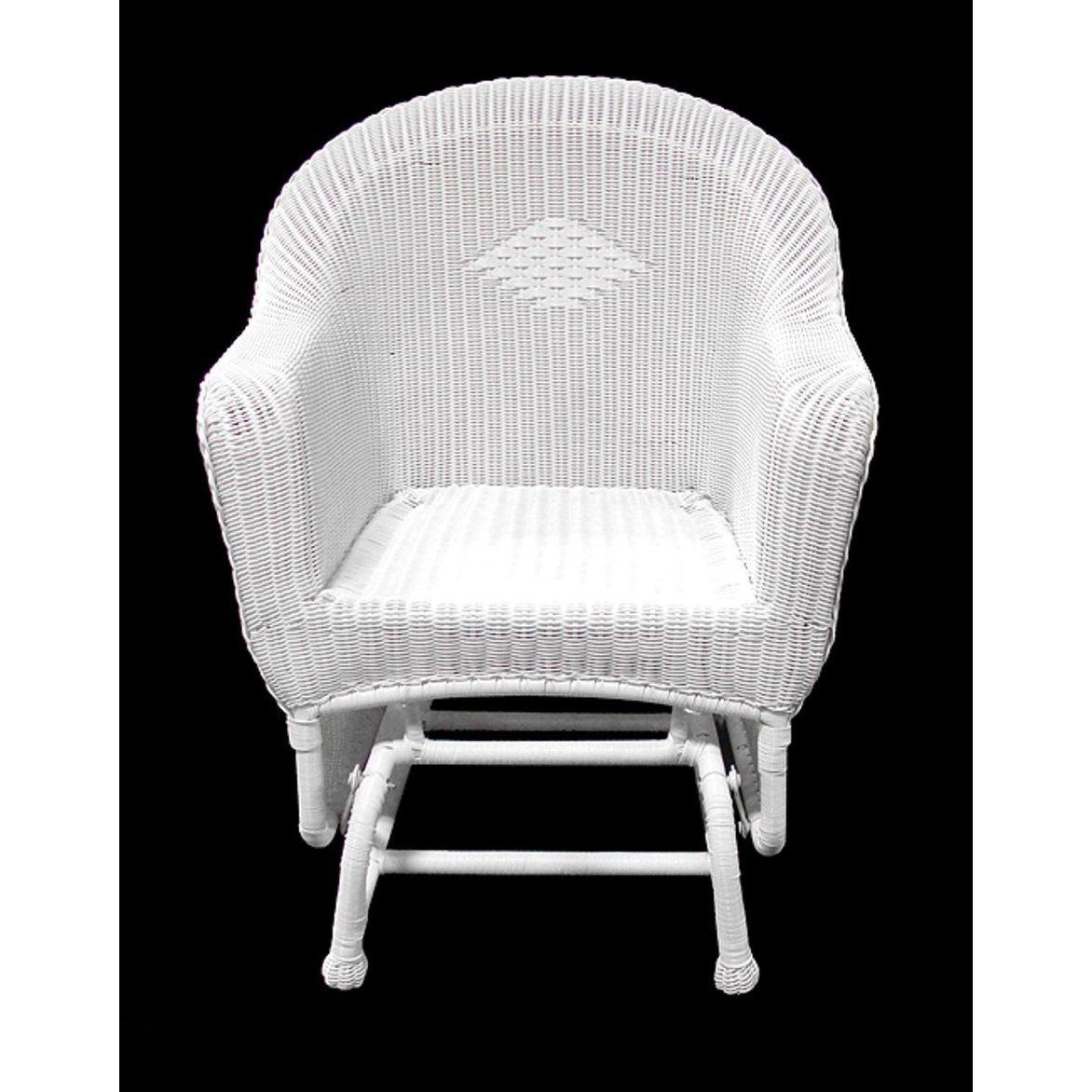 Best 36 White Resin Wicker Single Glider Patio Chair 400 x 300