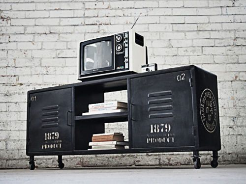 Large Retro Industrial TV Stand Coffee Table Vintage