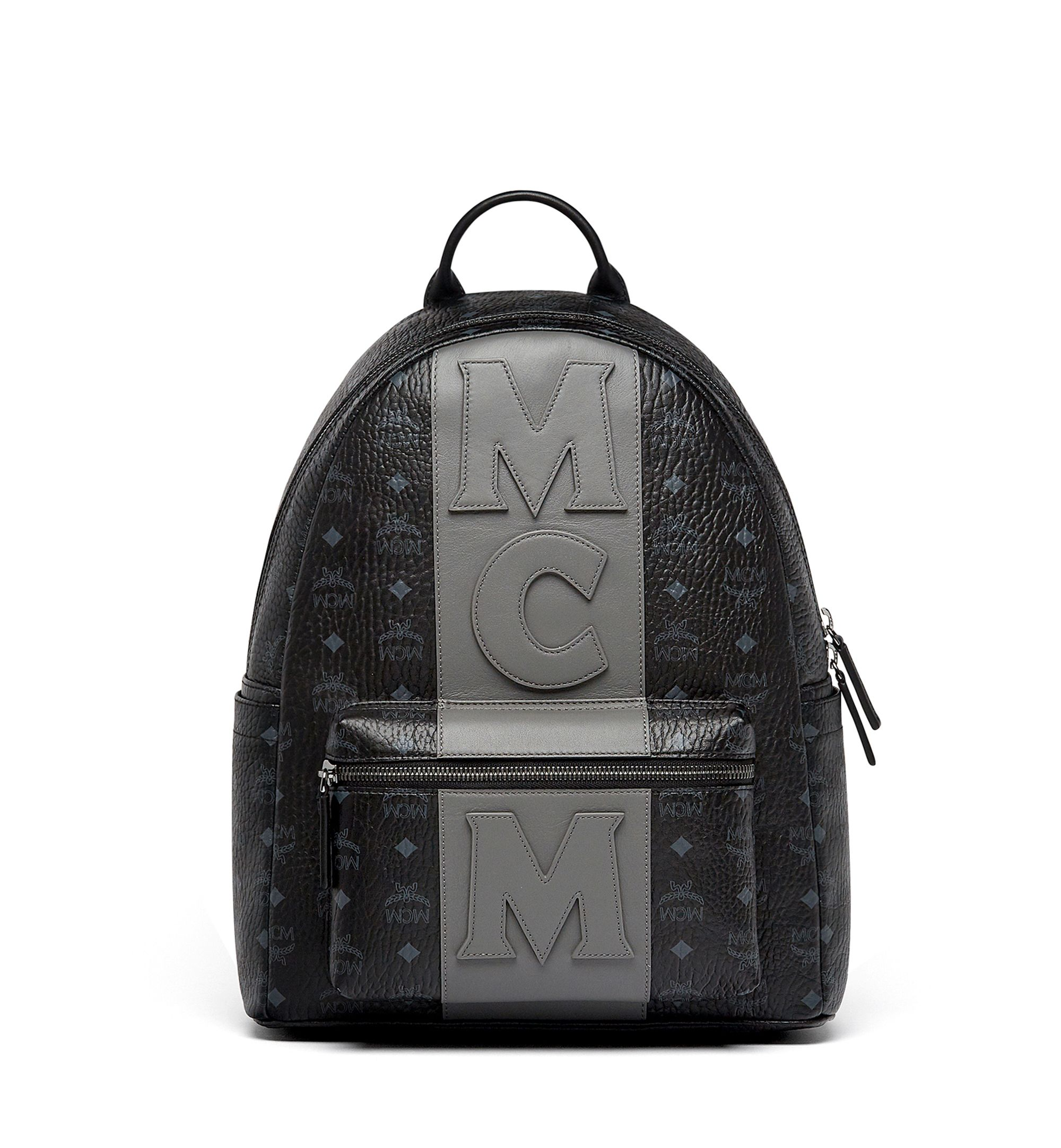 36d74744ac338e  820 MCM Backpack - SOLD by MCM - affiliate - Medium Stark Stripe Backpack  in Visetos in Black - color-block take on our classic Visetos backpack.