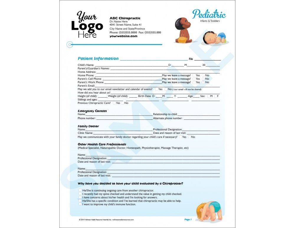 Customizable Chiropractic Infant Intake Form  Chiropractic
