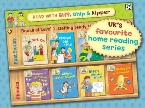 Read with Biff, Chip and Kipper. Der er to gratis bøger og så skal man betale for resten. Til begynder og mellemtrin.