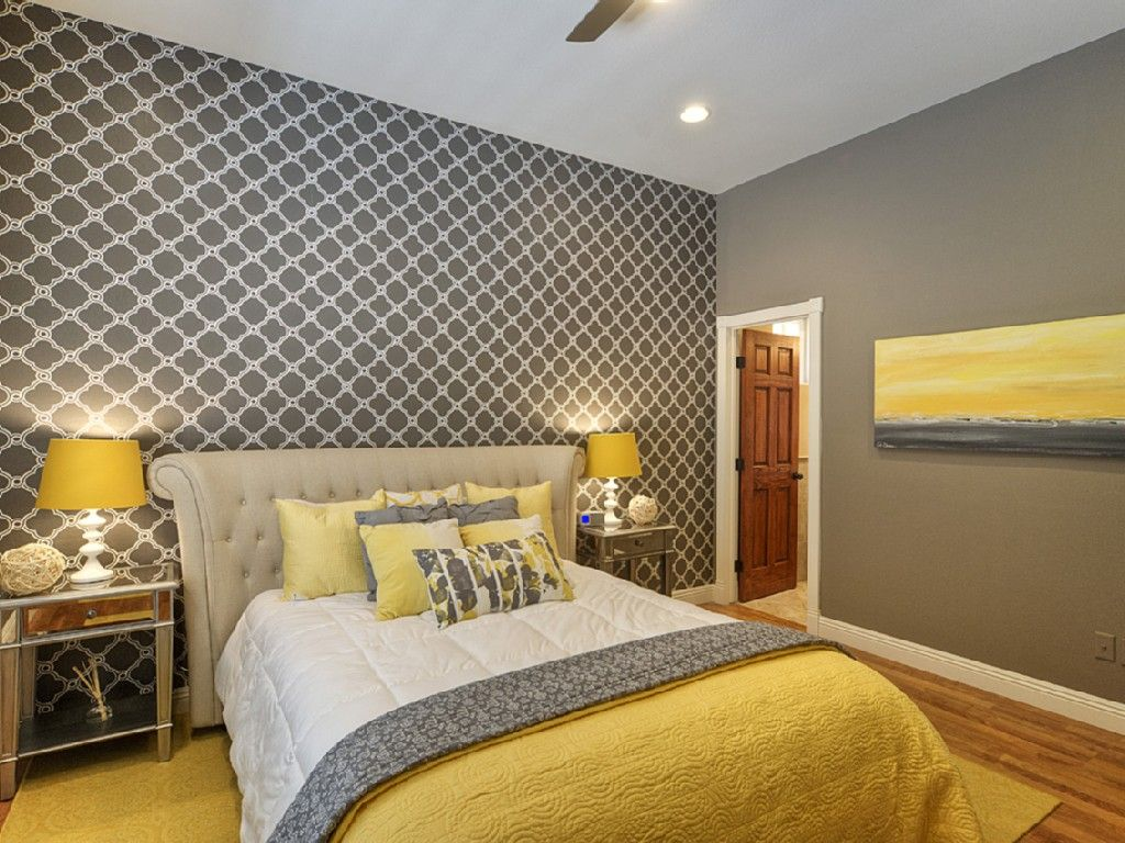 Peaceful Yellow And Gray Master Bedroom Decorating Ideas Gray Paint Colors Combined With Geometric Wallpaper And A Touch Of Yellow Color